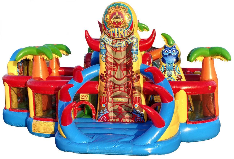 Tiki Themed Inflatable Bouncer Slide Combo
